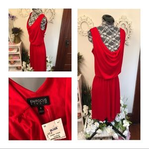 New En Focus Red Draped Dress